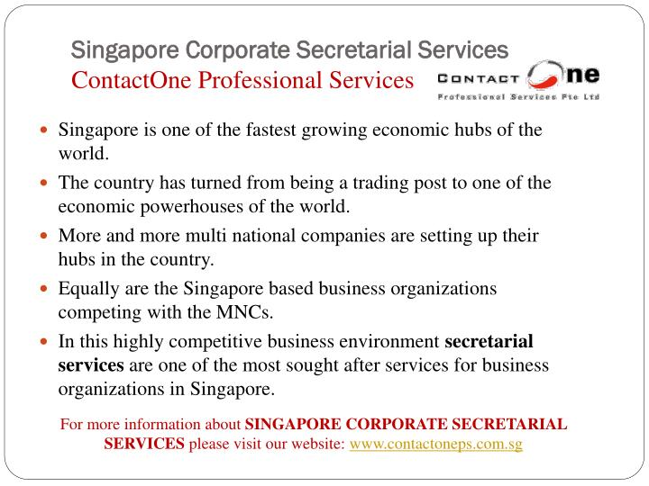 Singapore corporate secretarial services contactone professional services