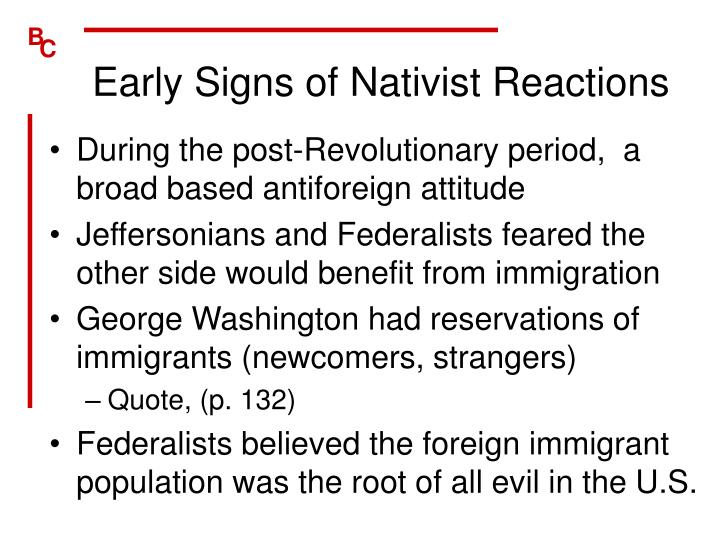 Early Signs of Nativist Reactions
