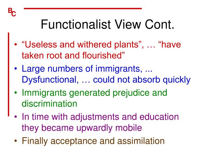 Functionalist View Cont.