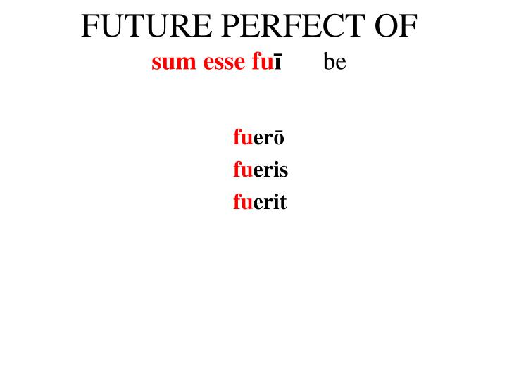 FUTURE PERFECT OF