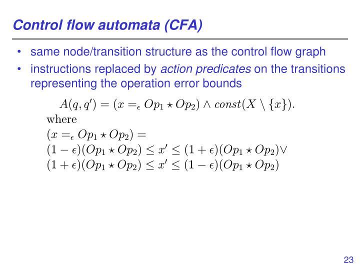 Control flow automata (CFA)
