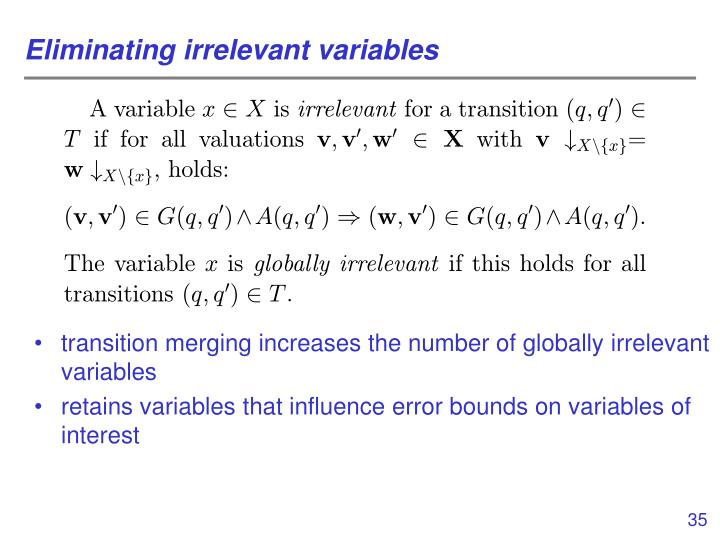 Eliminating irrelevant variables