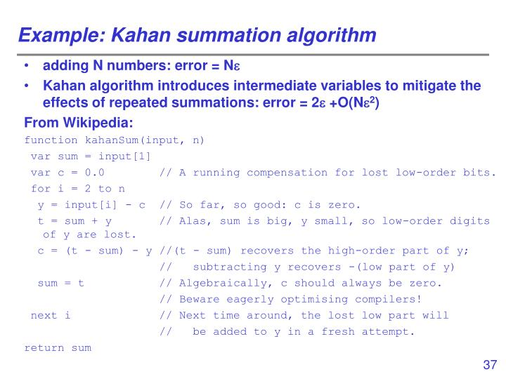 Example: Kahan summation algorithm