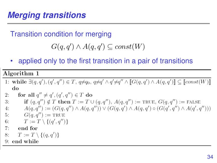 Merging transitions