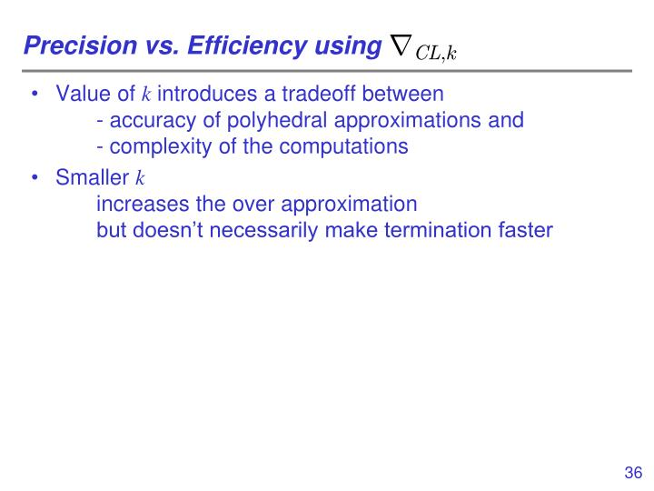 Precision vs. Efficiency using