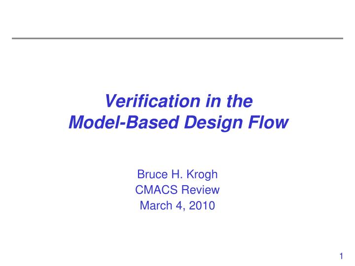 Verification in the model based design flow