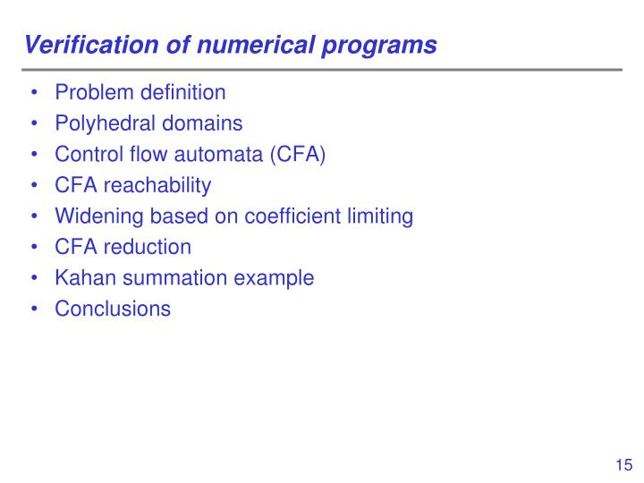 Verification of numerical programs