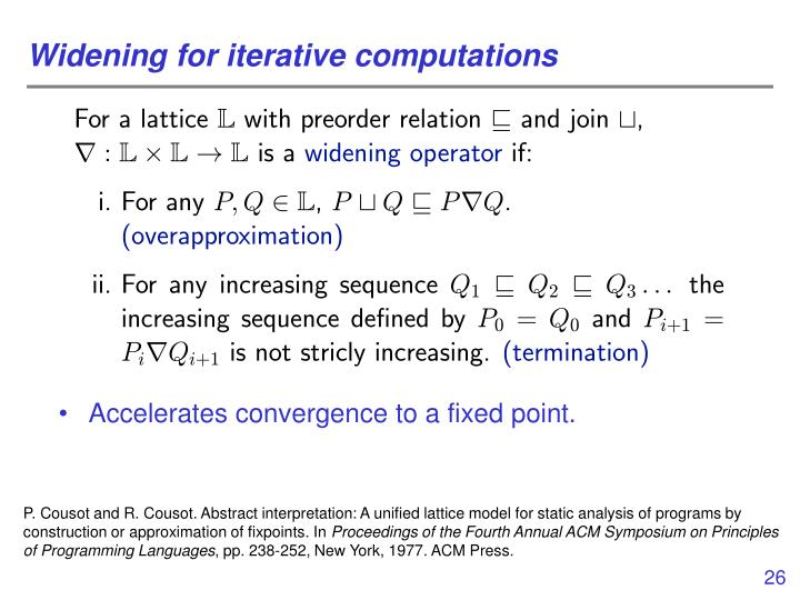 Widening for iterative computations