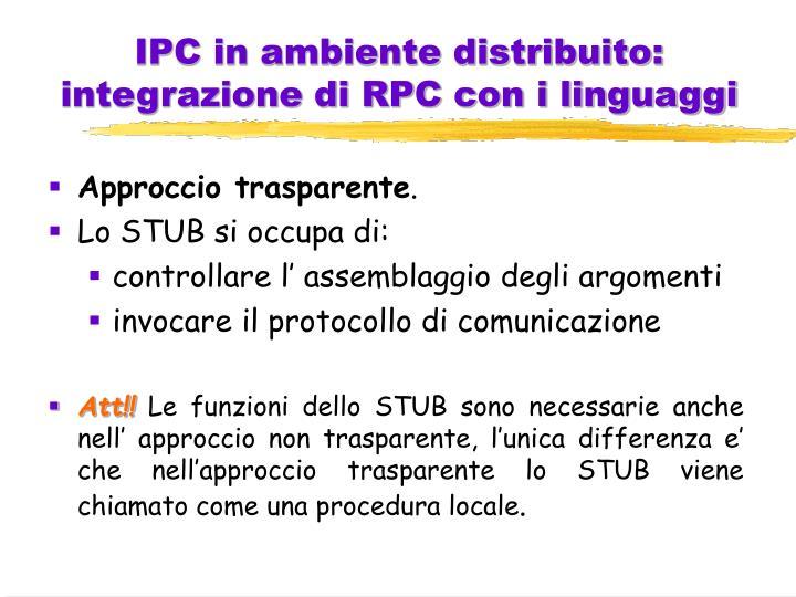 IPC in ambiente distribuito: integrazione di RPC con i linguaggi