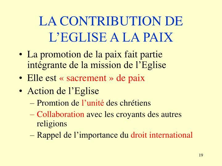 LA CONTRIBUTION DE L'EGLISE A LA PAIX