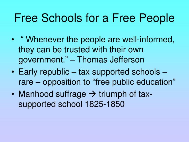 Free Schools for a Free People