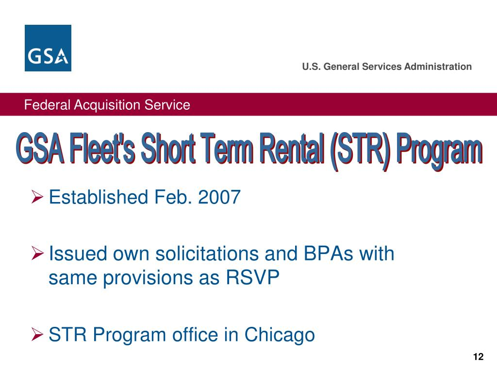 GSA Fleet's Short Term Rental (STR) Program