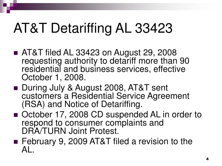 AT&T Detariffing AL 33423