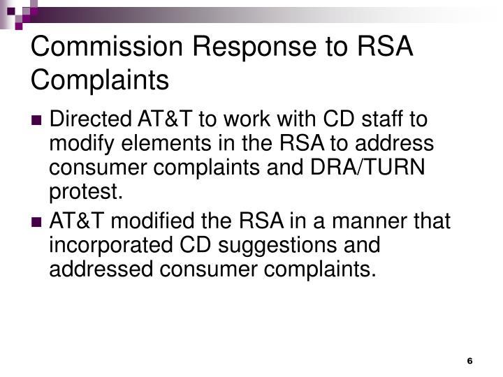 Commission Response to RSA Complaints