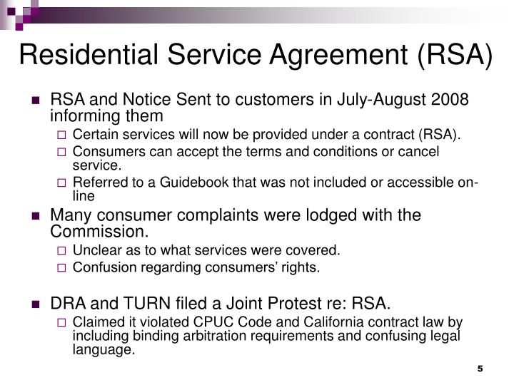 Residential Service Agreement (RSA)