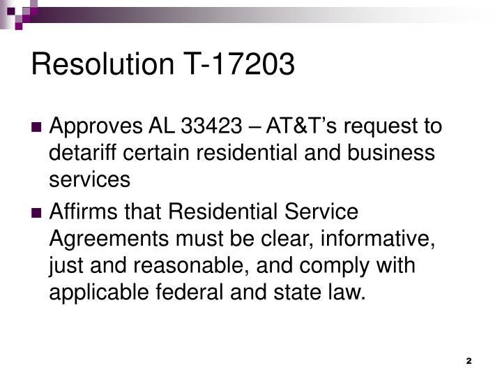 Resolution T-17203