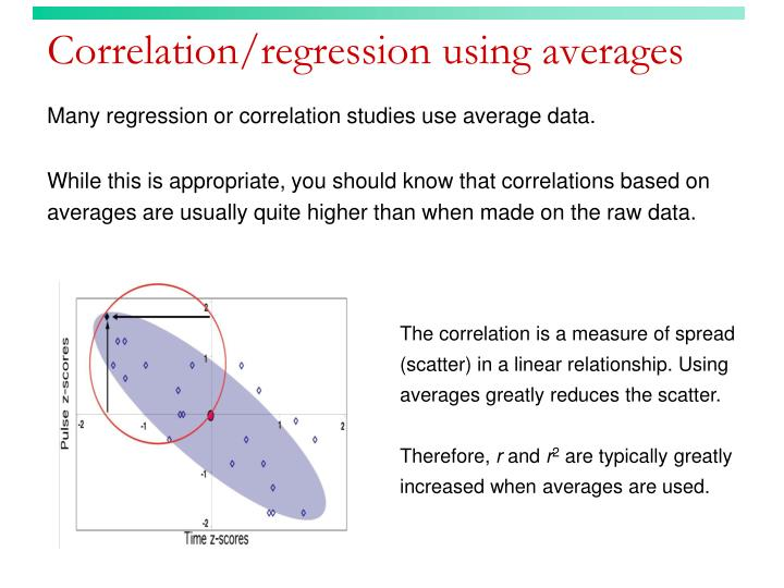 Correlation/regression using averages