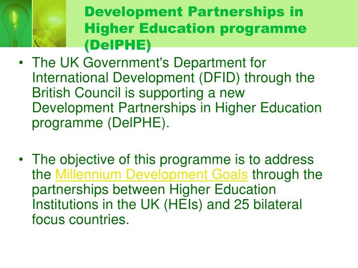 Development partnerships in higher education programme delphe