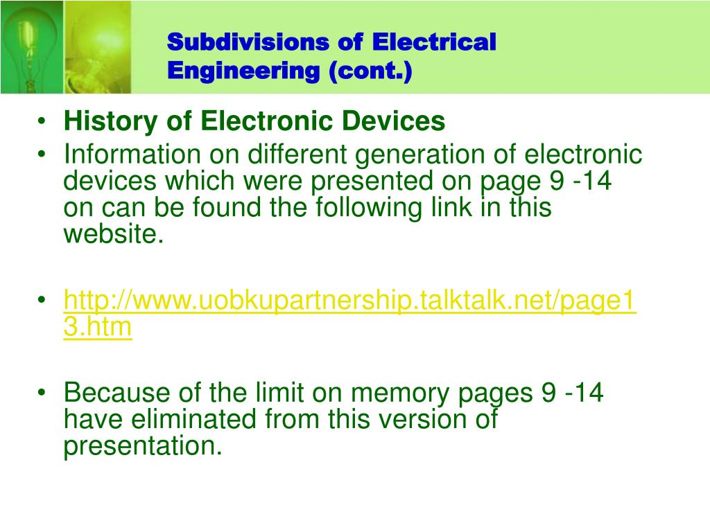 Subdivisions of Electrical Engineering (cont.)