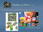 shelter in place cont