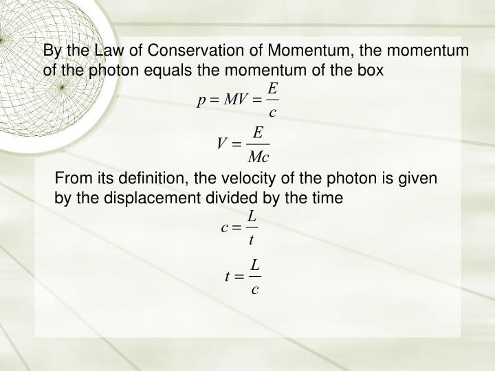 By the Law of Conservation of Momentum, the momentum