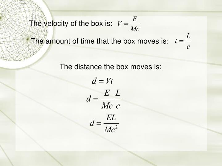 The velocity of the box is: