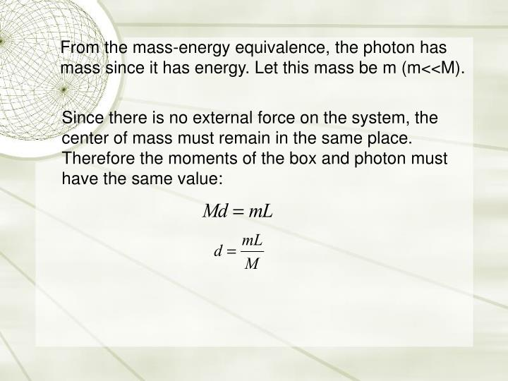 From the mass-energy equivalence, the photon has