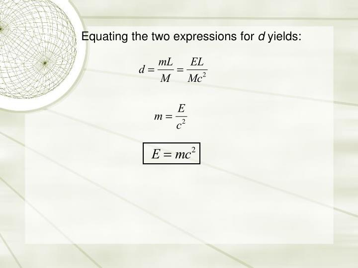 Equating the two expressions for