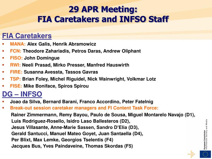 29 apr meeting fia caretakers and infso staff