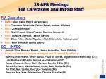 29 apr meeting fia caretakers and infso staff