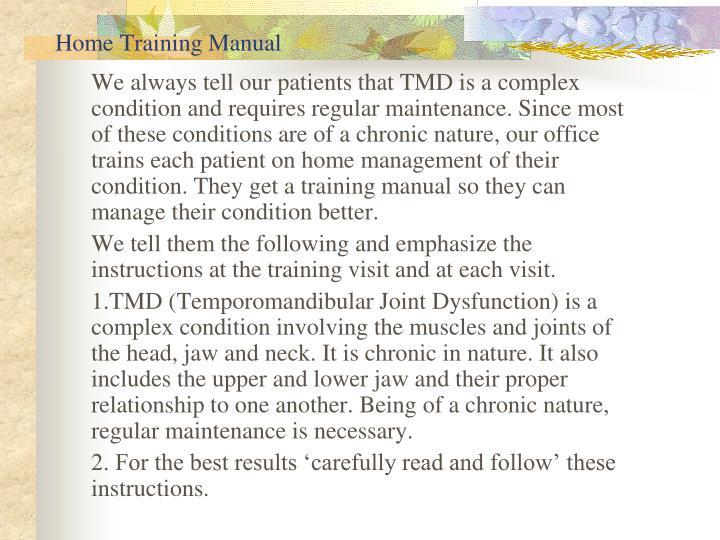 Home Training Manual
