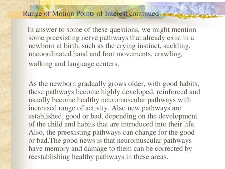 Range of Motion Points of Interest continued