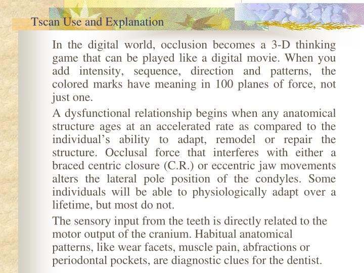 Tscan Use and Explanation