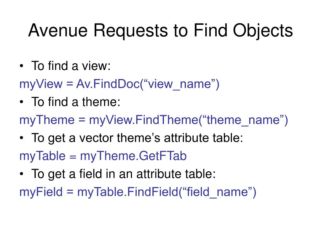 Avenue Requests to Find Objects