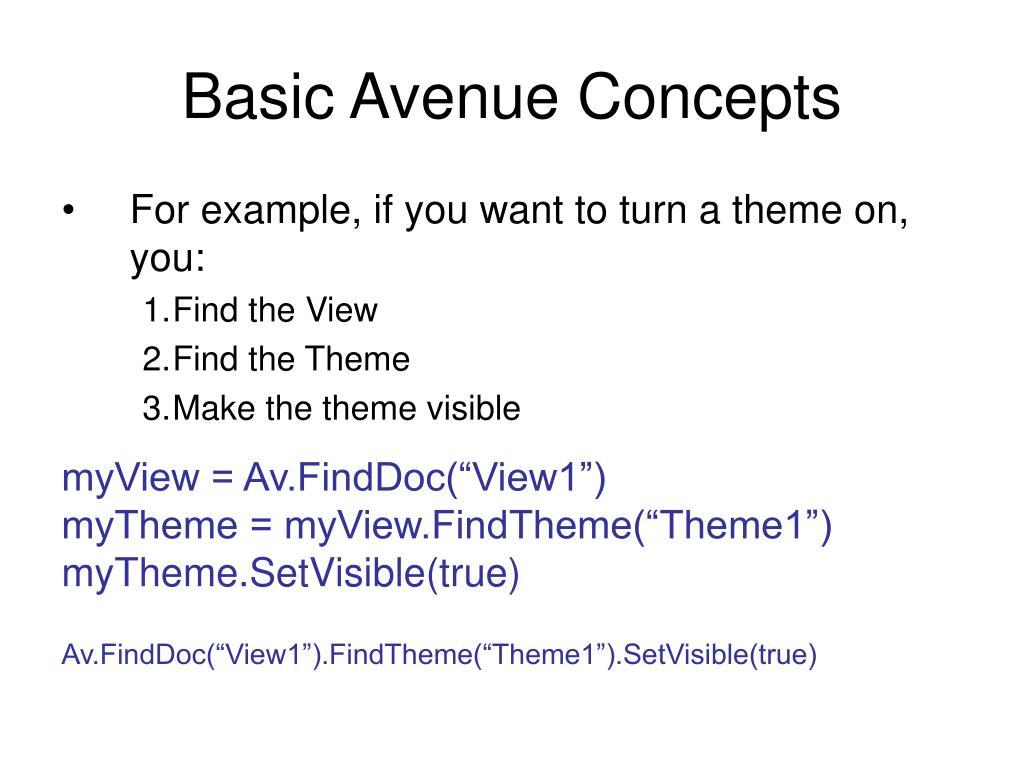 Basic Avenue Concepts