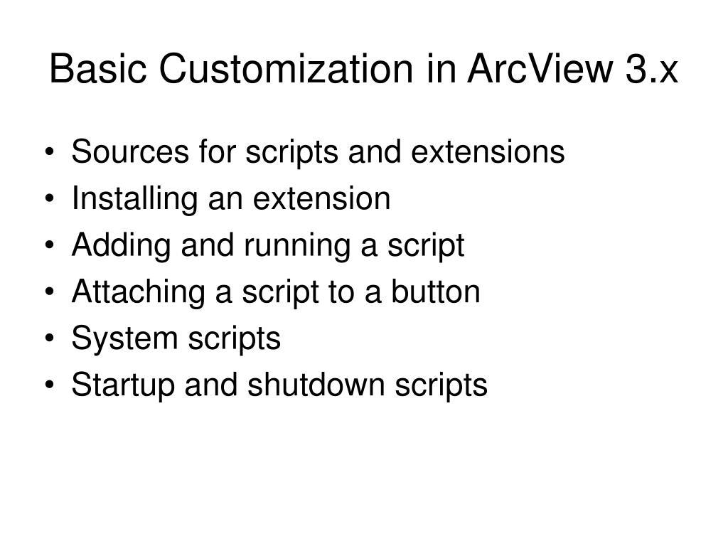 Basic Customization in ArcView 3.x