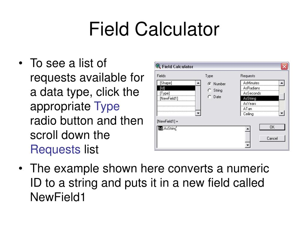 To see a list of requests available for a data type, click the appropriate