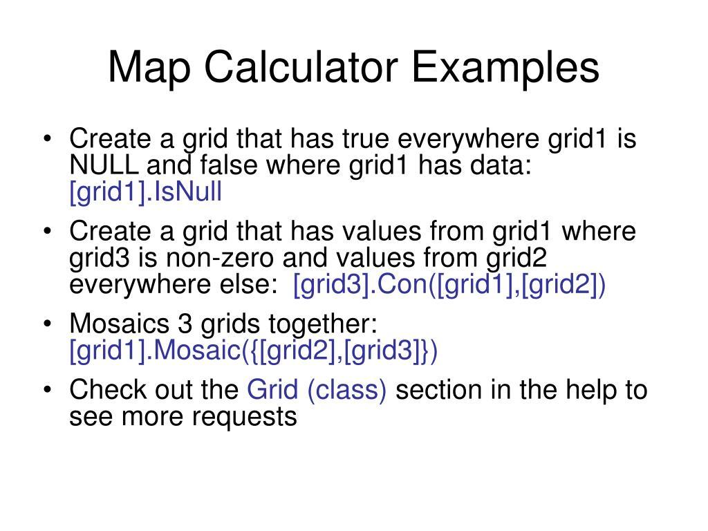 Map Calculator Examples