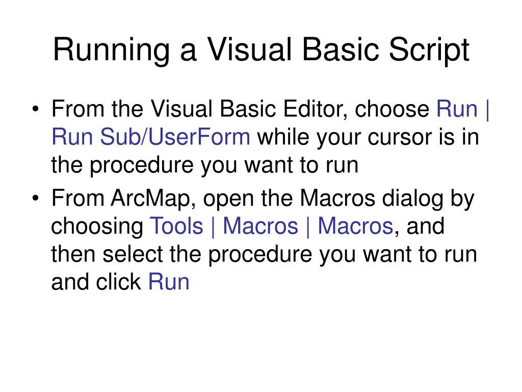 Running a Visual Basic Script