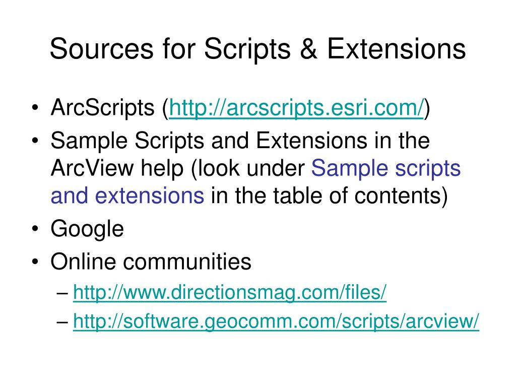 Sources for Scripts & Extensions