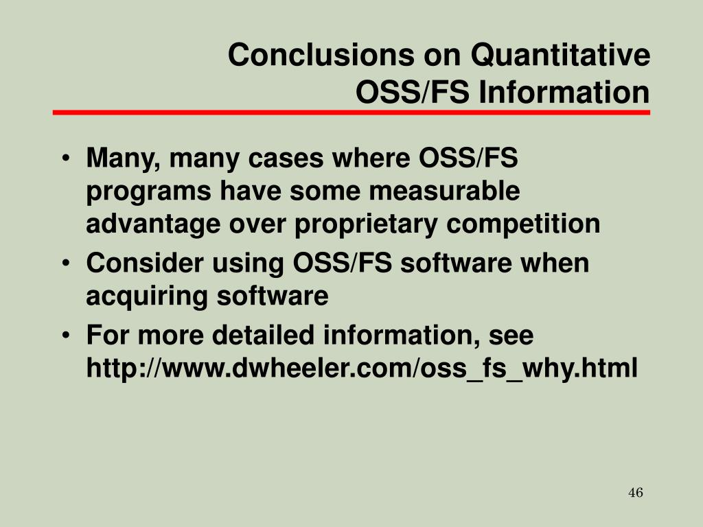 Conclusions on Quantitative OSS/FS Information