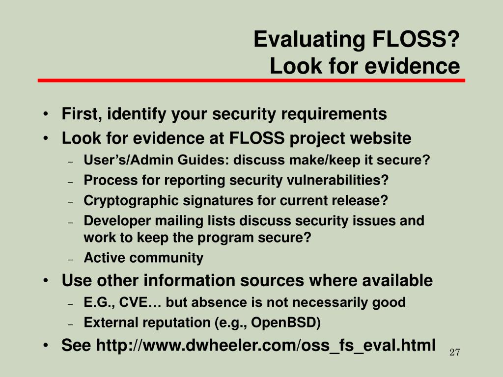Evaluating FLOSS?