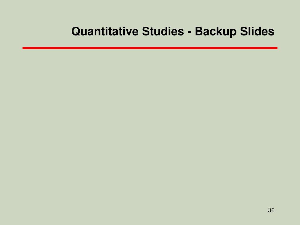 Quantitative Studies - Backup Slides