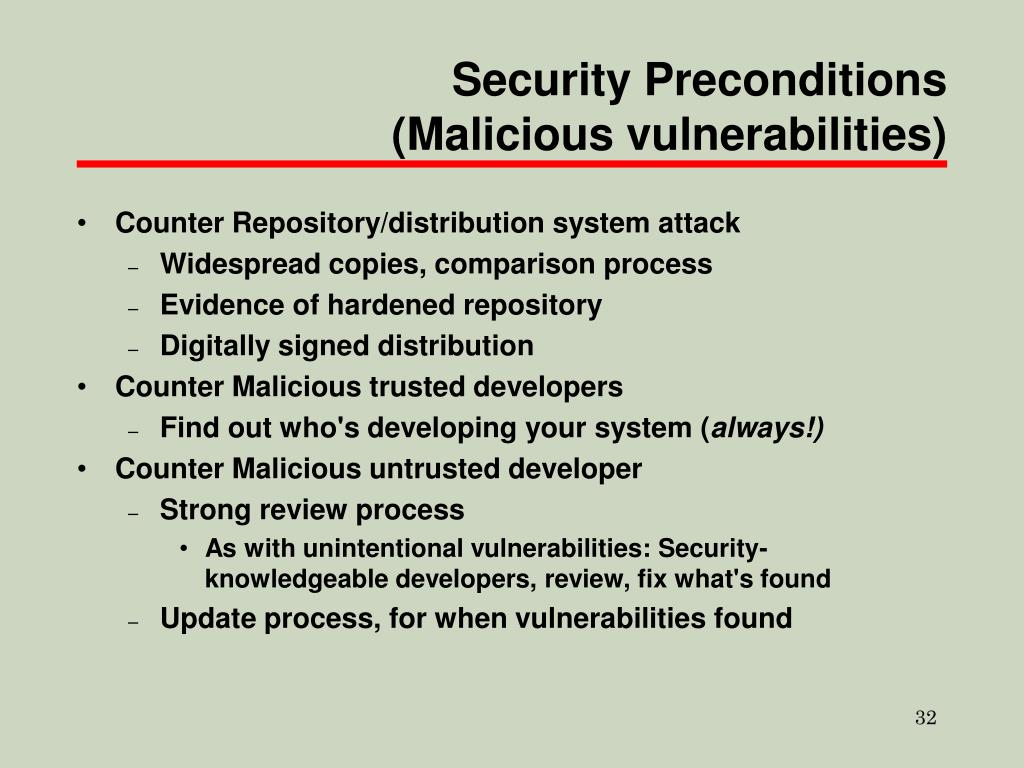 Security Preconditions