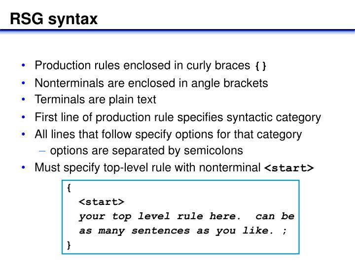 RSG syntax