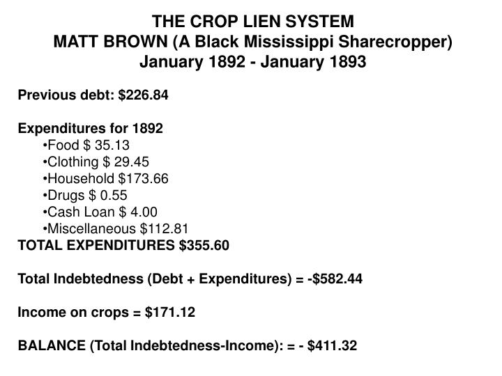 THE CROP LIEN SYSTEM