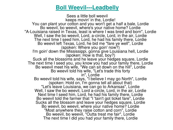 Boll Weevil---Leadbelly