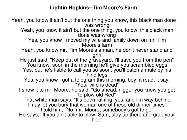 Lightin Hopkins--Tim Moore's Farm