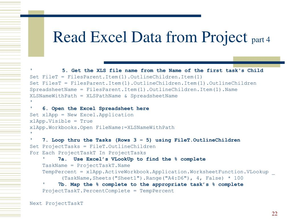 Read Excel Data from Project