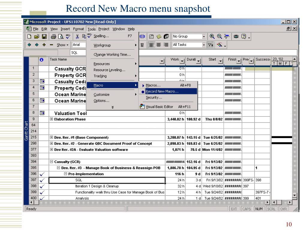 Record New Macro menu snapshot